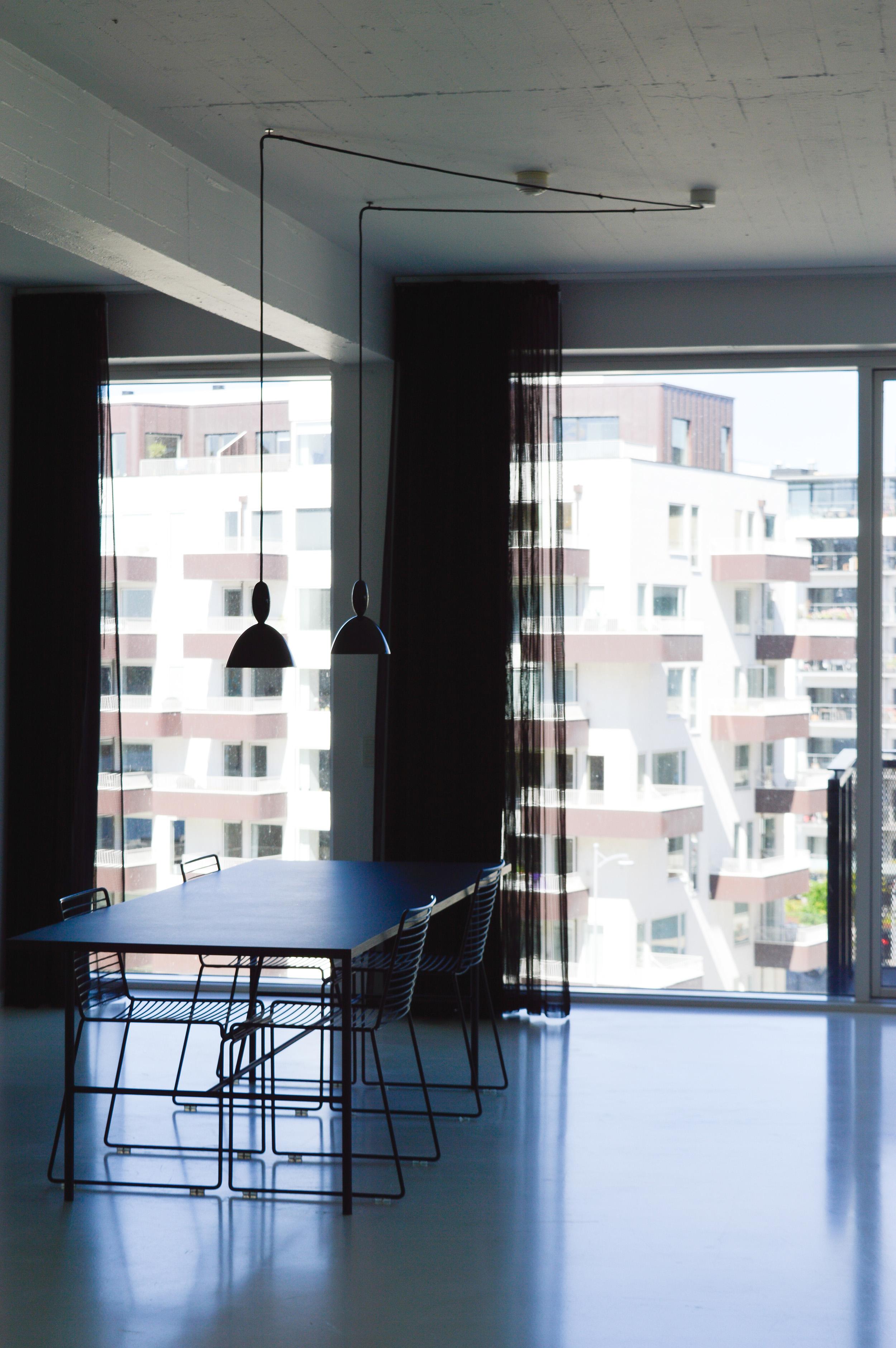 A minimalist dining room