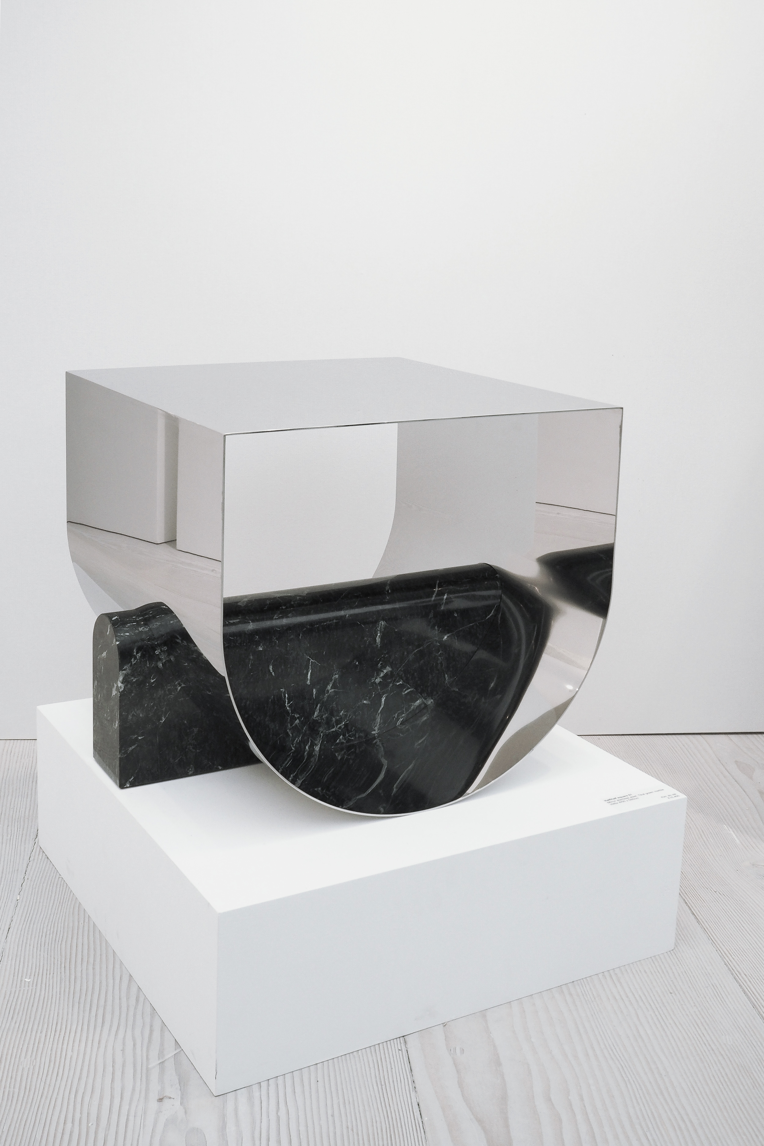 Stainless steel and marble minimalist sculpture, Kim Jin-Sik