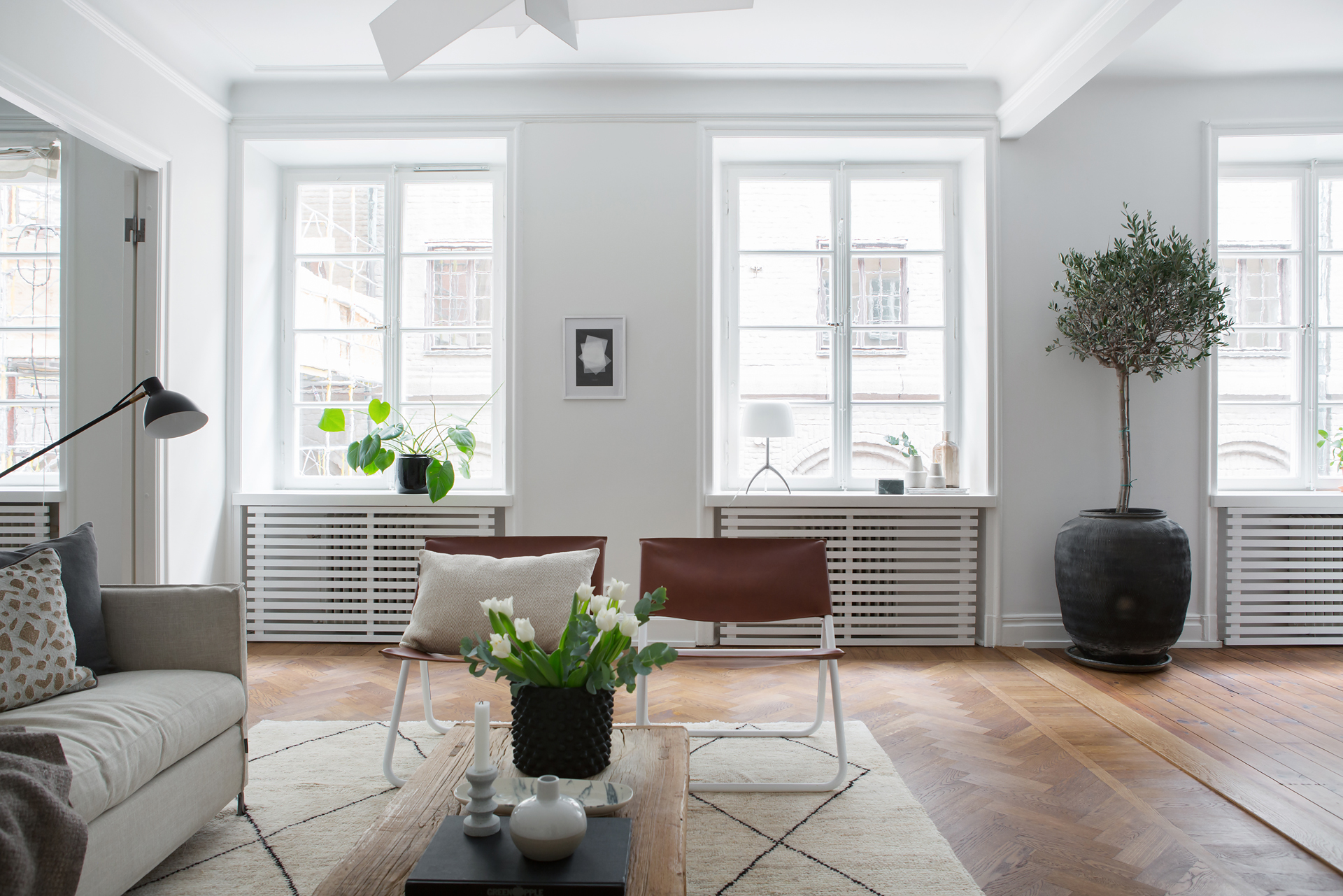 A Swedish living room, Scandinavian home design. Simplified eclecticism