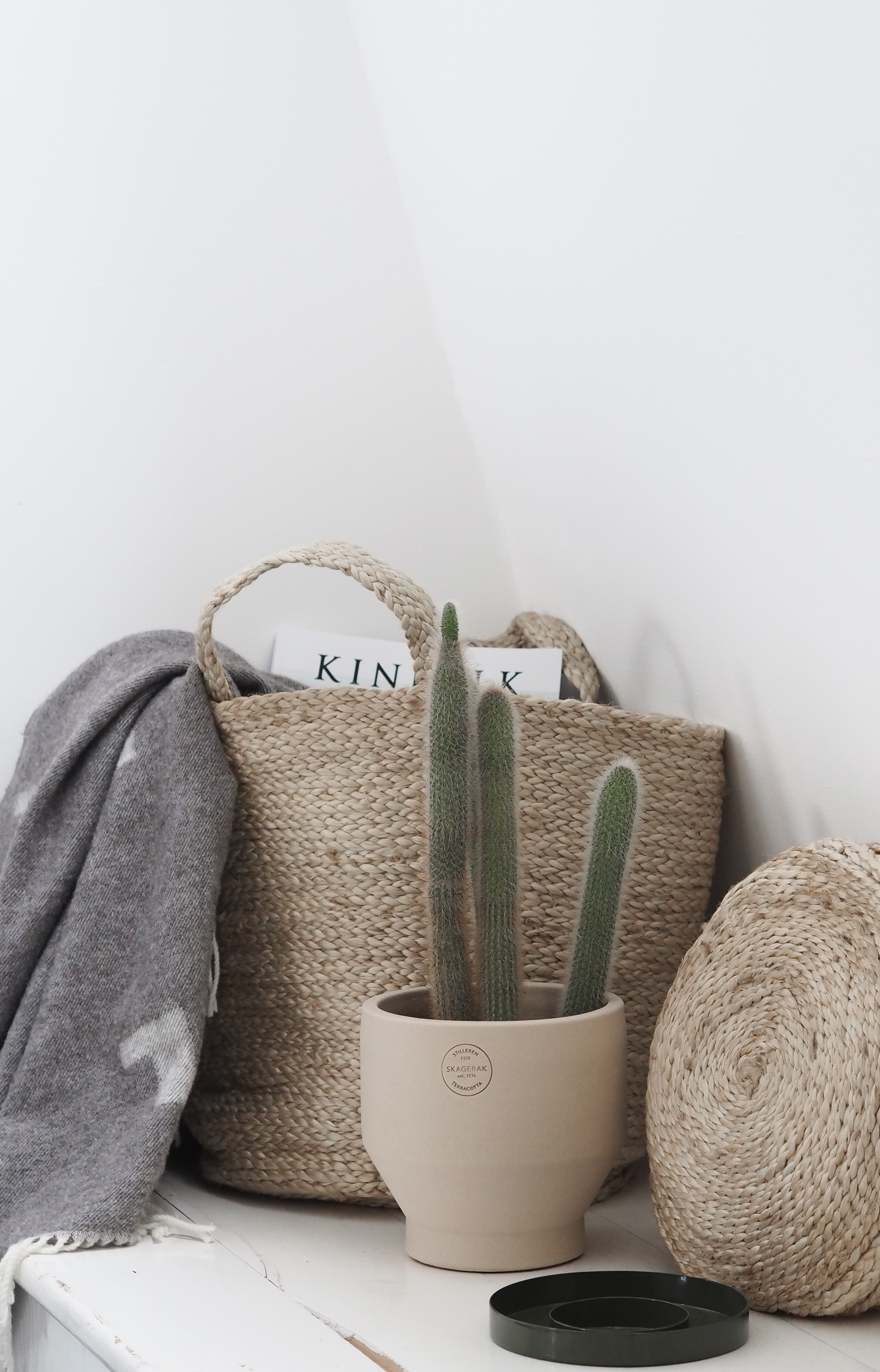 Natural neutrals. Scandi design, Woven baskets and cacti