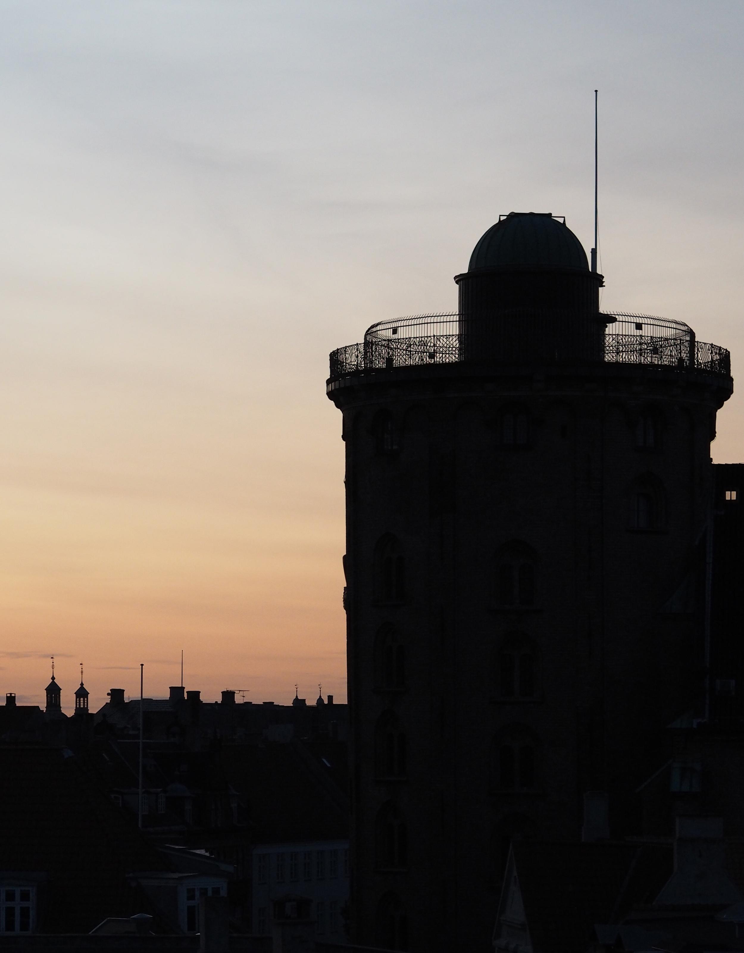 Sunset in Copenhagen. The Round Tower. Denmark