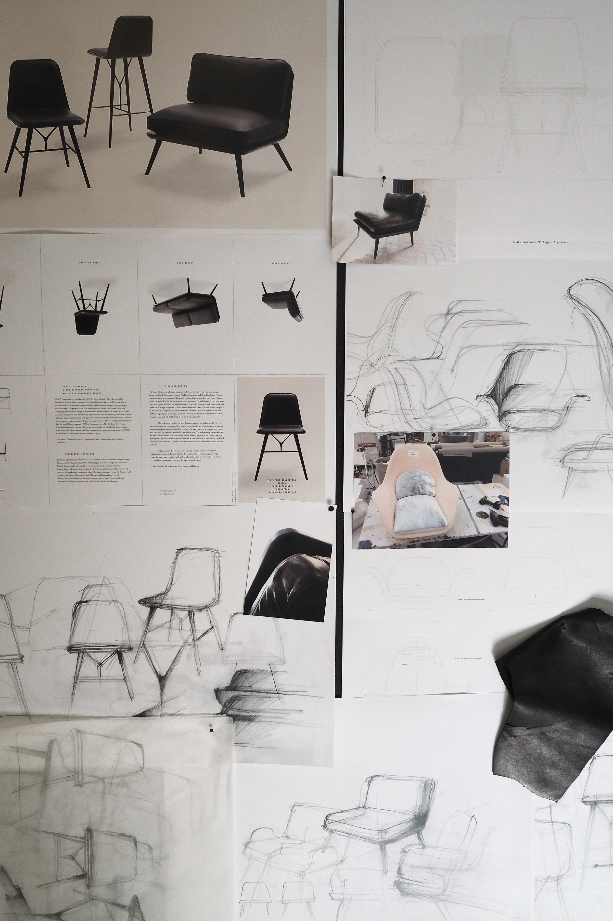 Space Copenhagen sketches for Fredericia chairs, Spine collection and Swoon Collection. Danish Design