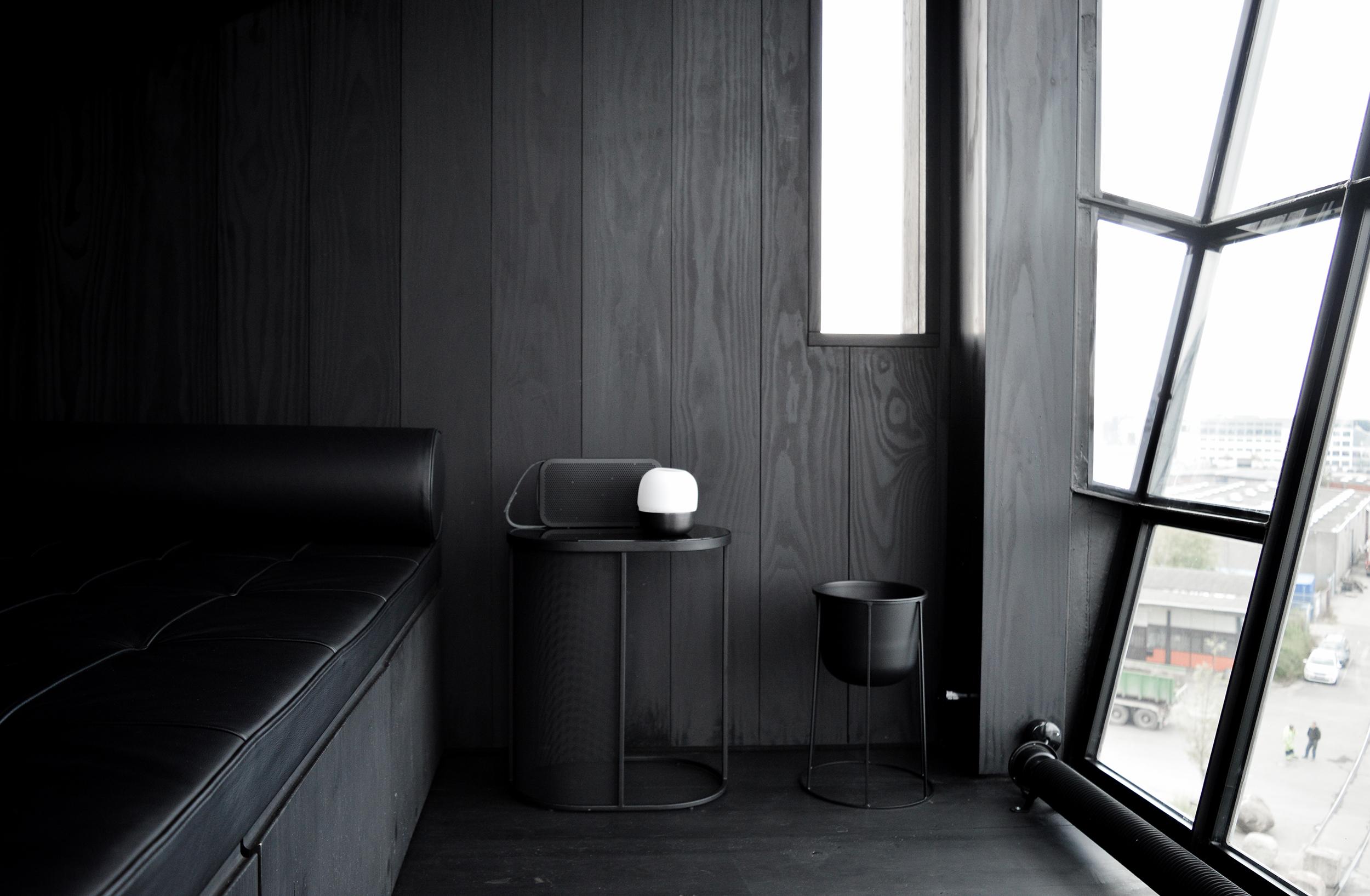 A modernist and mininal lounge room. The Krane, Copenhagen