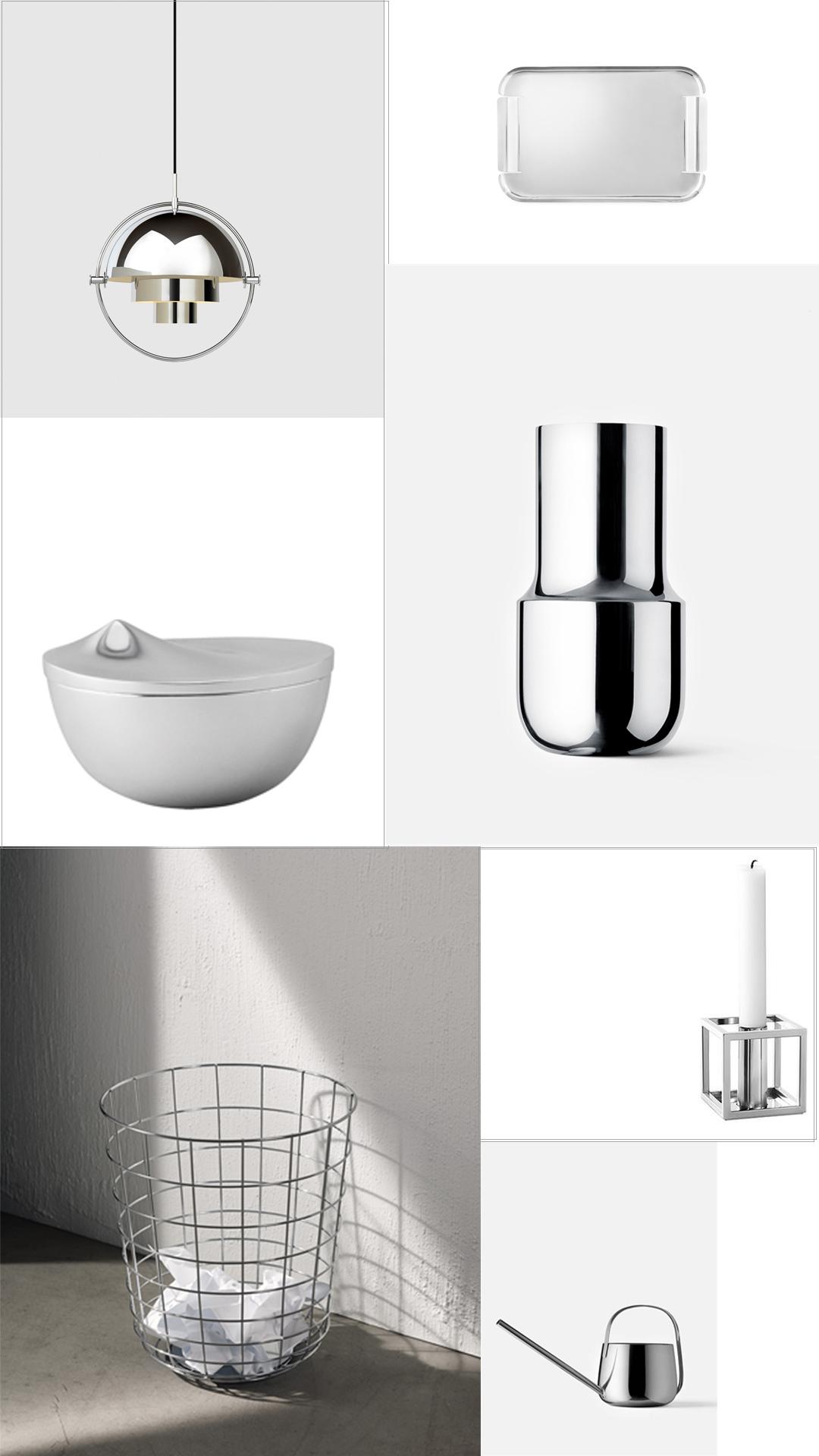 Silver and chrome Scandinavian design accessories